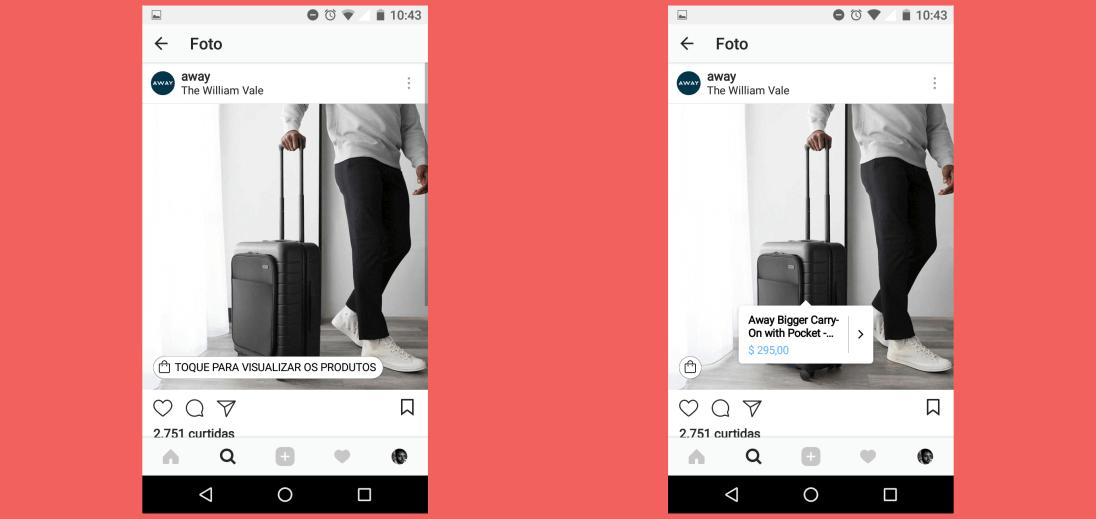 Duas telas de smartphone mostrando um homem segurando uma mala. Em uma delas, existe uma tag com preço e nome do produto mostrado