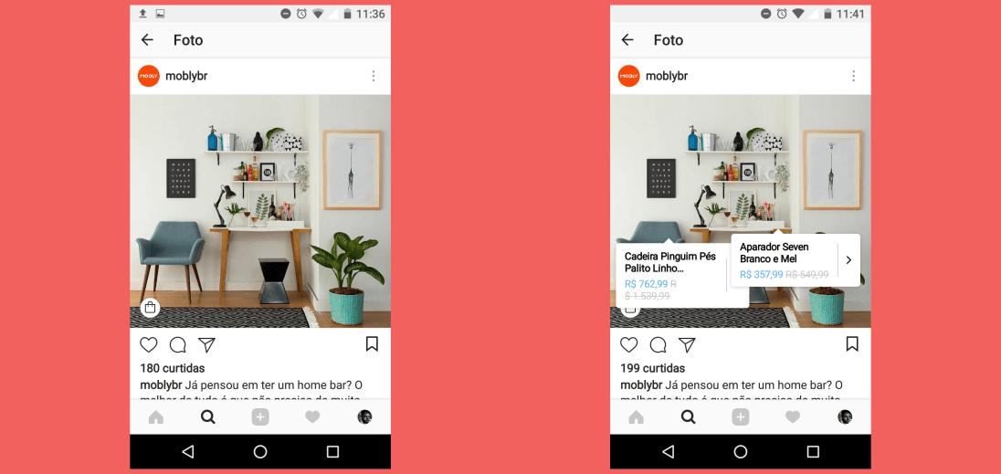 Duas telas de Smartphone, mostrando um escritório decorado, e um deles possui várias tags com informações do produto