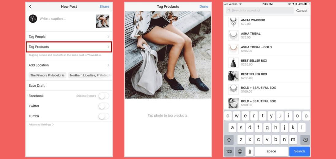 Três telas de smartphone, mostrando como marcar produtos nas postagens
